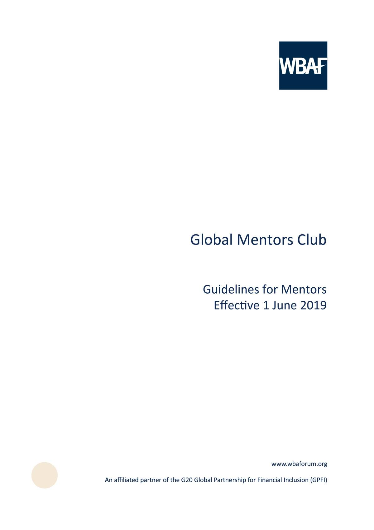 Global Mentors Club - Guidelines for Mentors
