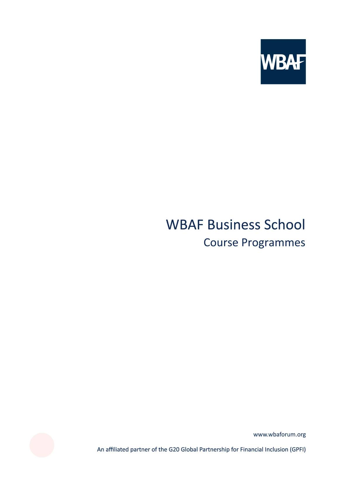 Wbaf Business School - Course Programmes