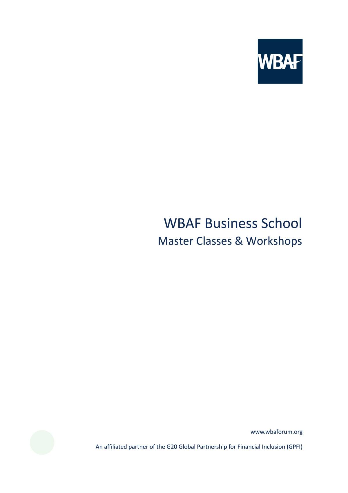 Wbaf Business School - Master Classes