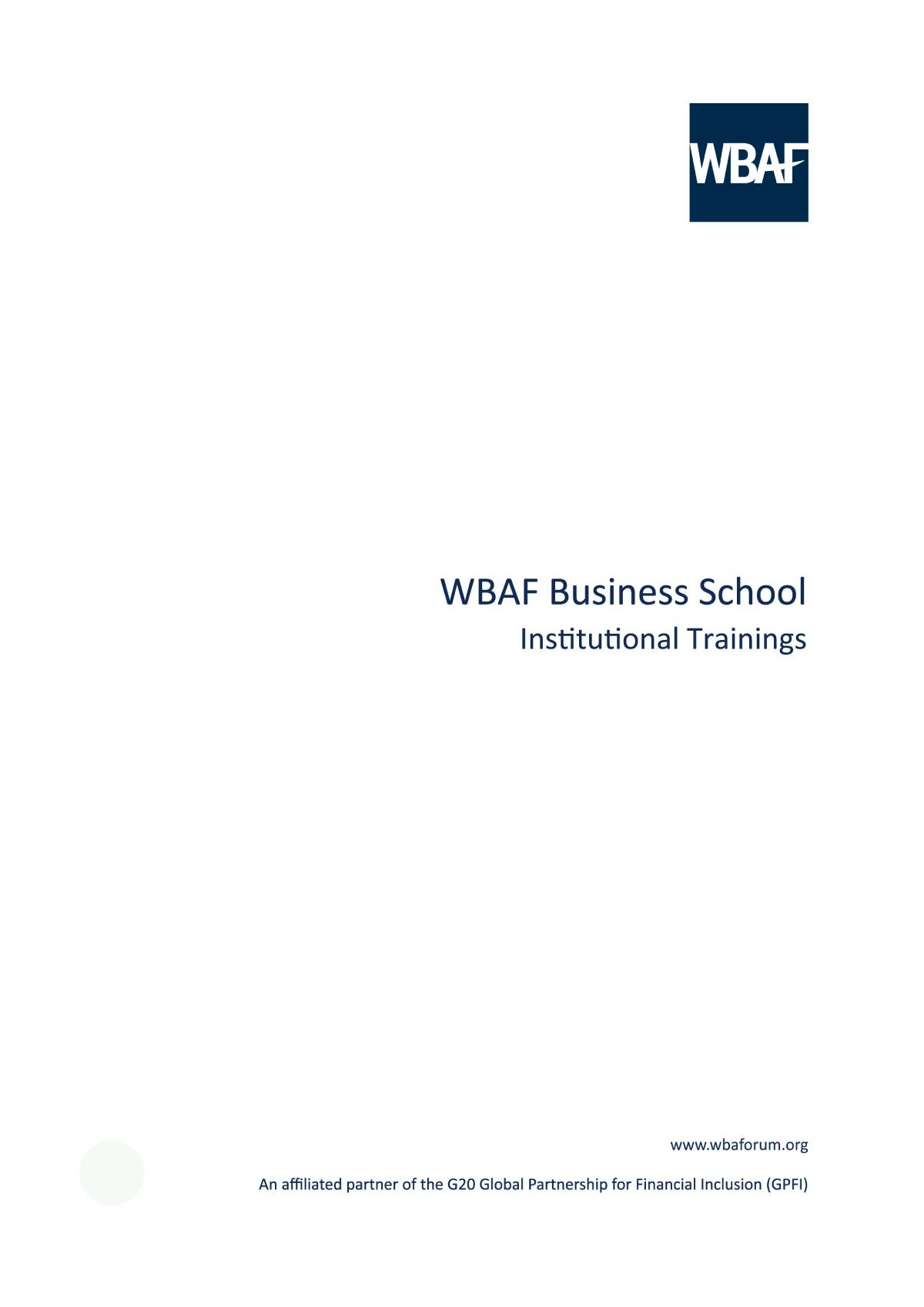 Wbaf Business School - Institutional Trainings